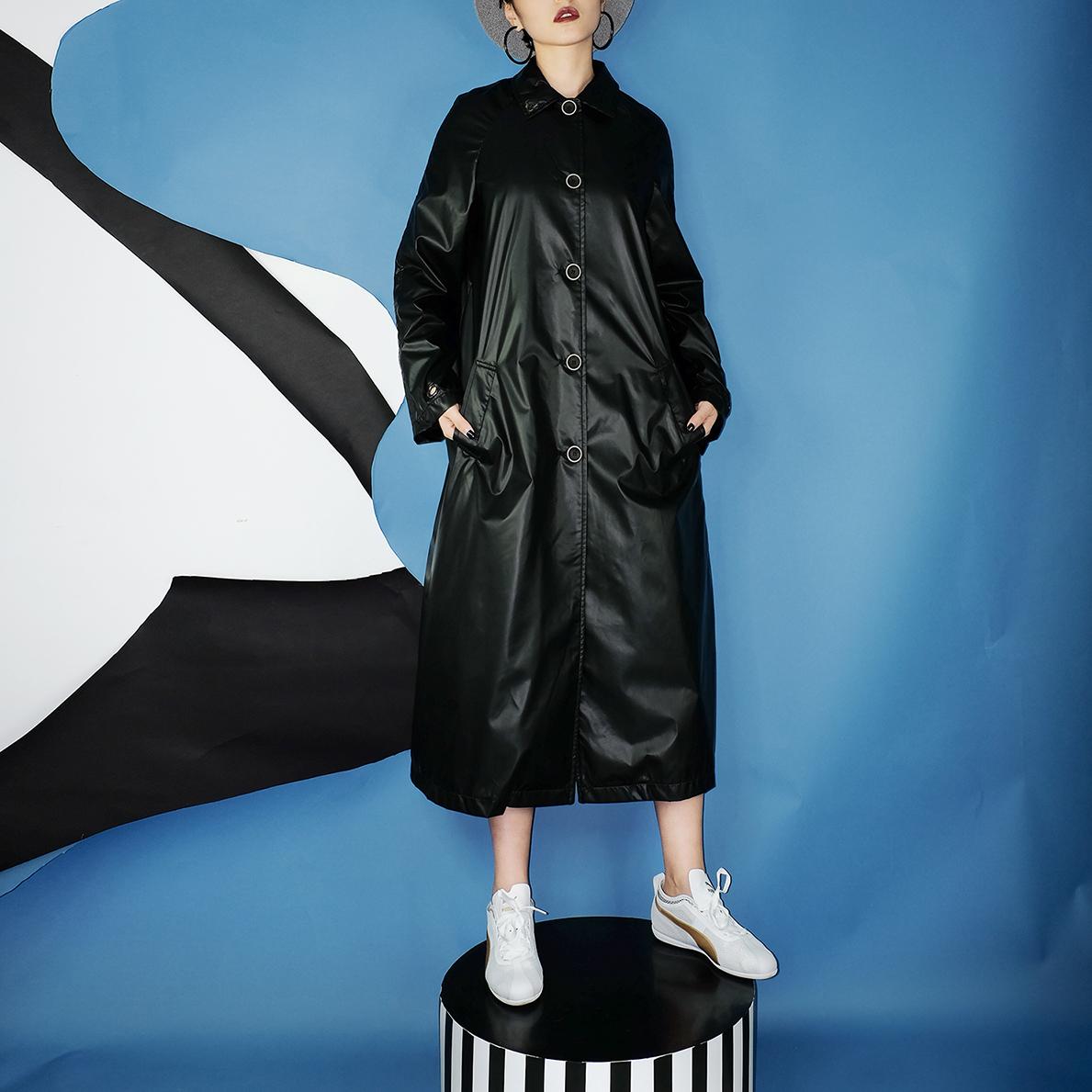 单排扣风衣 moyasusu 2016 独家设计 廓形长款侦探风衣 纯黑色 薄款防雨_推荐淘宝好看的单排扣风衣