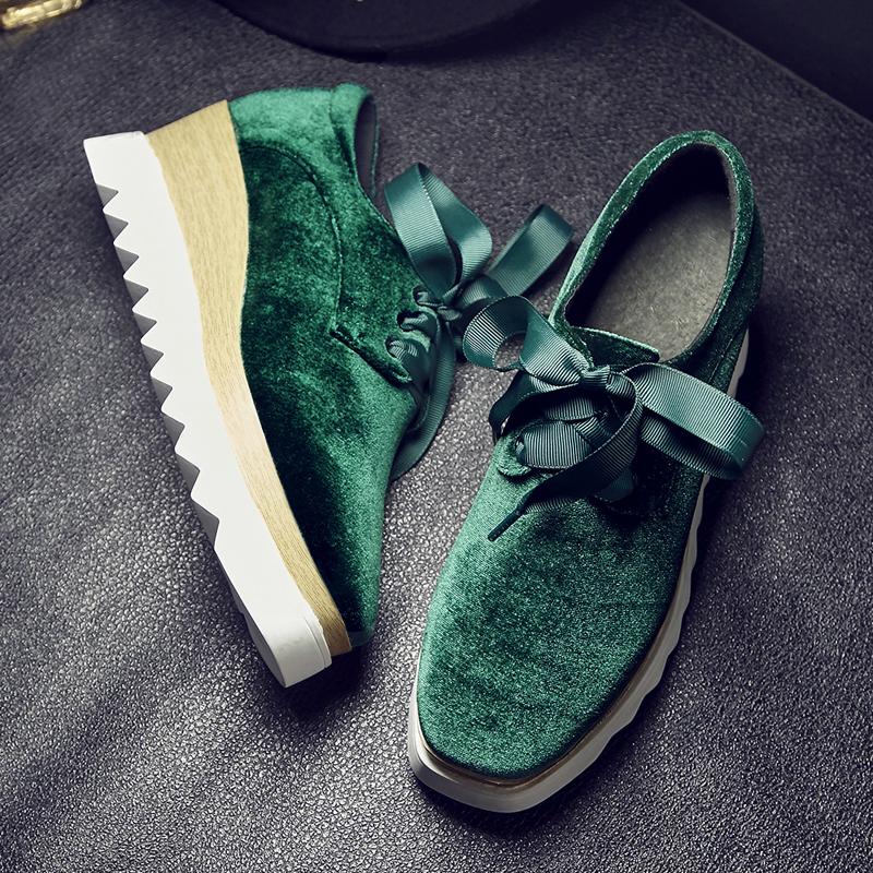 绿色松糕鞋 春秋方头厚底系带高跟松糕底丝绒面深口坡跟女鞋红色蓝色绿色单鞋_推荐淘宝好看的绿色松糕鞋