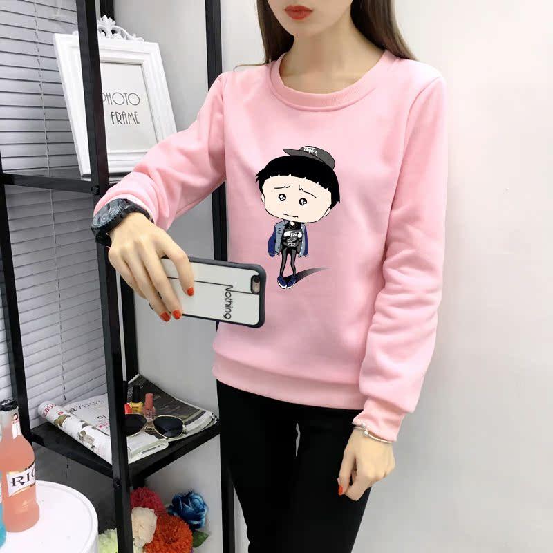 粉红色卫衣 大童12少女13初中学生14女孩15长袖加绒T恤衫16岁女子卫衣服秋装_推荐淘宝好看的粉红色卫衣
