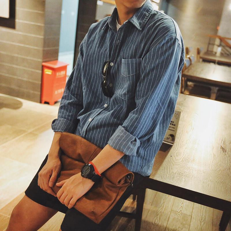 黑色衬衫 秋季条纹长袖衬衫男 日系韩版潮牌宽松学生青少年衬衣纯棉余文乐_推荐淘宝好看的黑色衬衫