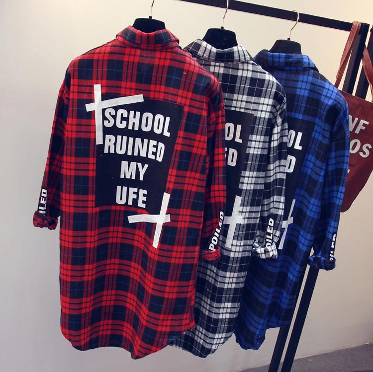 红色格子衬衫 加肥加大码秋装胖mm格子衬衫女长袖中长款学生外套宽松200斤衬衣_推荐淘宝好看的女红色格子衬衫