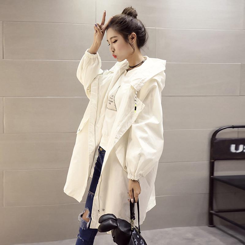 白色风衣 2017春装新款韩版中长款宽松学生休闲bf风衣女秋季外套欧洲站潮_推荐淘宝好看的白色风衣