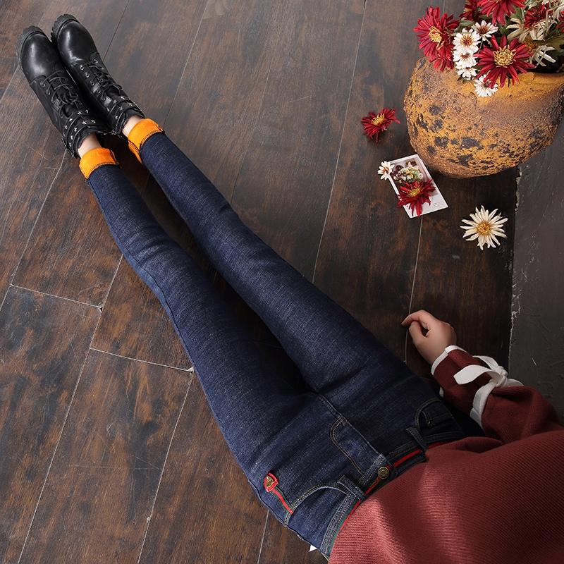 小脚修身牛仔裤 黑色高腰加绒加厚牛仔裤女冬季韩版弹力显瘦修身保暖小脚铅笔长裤_推荐淘宝好看的女小脚修身牛仔裤