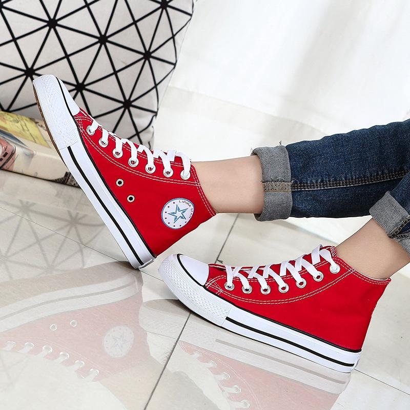 红色帆布鞋 春季中邦情侣款帆布鞋女男大红色布鞋韩版潮黑白板鞋高帮学生单鞋_推荐淘宝好看的红色帆布鞋