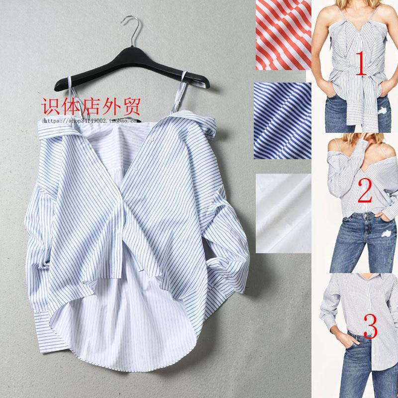 法式衬衫 071710 识体店 西班牙 经典条纹翻领衬衫三种穿法女显瘦百搭_推荐淘宝好看的女法 衬衫
