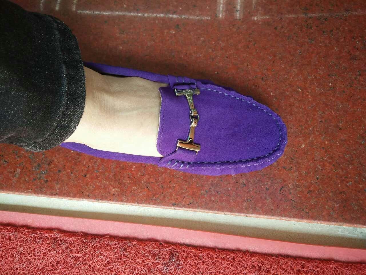 紫色豆豆鞋 新款手工潮流豆豆鞋 女鞋 单鞋 真皮磨砂牛皮深紫色 搭扣款休闲鞋_推荐淘宝好看的紫色豆豆鞋