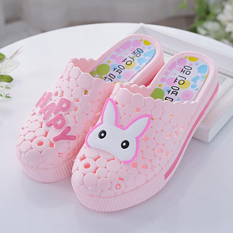 夏季高跟鞋 夏季新款半包头拖鞋可爱兔子防滑高跟凉拖沙滩鞋厚底洞洞鞋白色女_推荐淘宝好看的女夏季高跟鞋