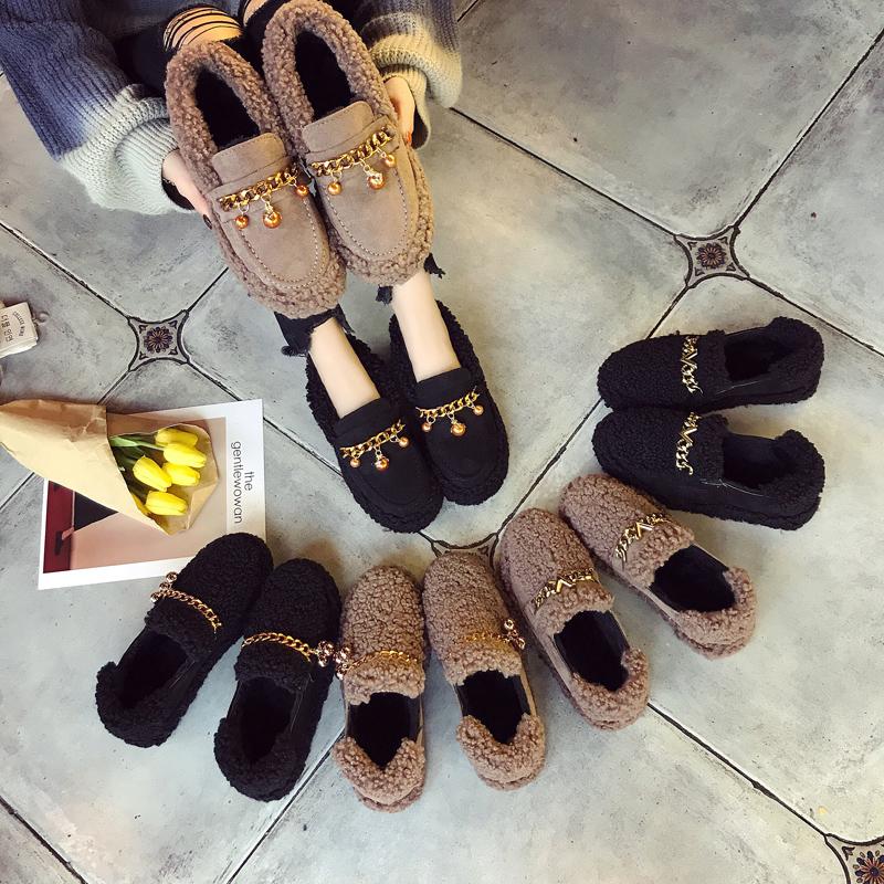 品牌豆豆鞋 豆豆鞋女加绒一脚蹬女鞋2017新款韩版百搭毛毛鞋女秋冬季平底棉鞋_推荐淘宝好看的女豆豆鞋