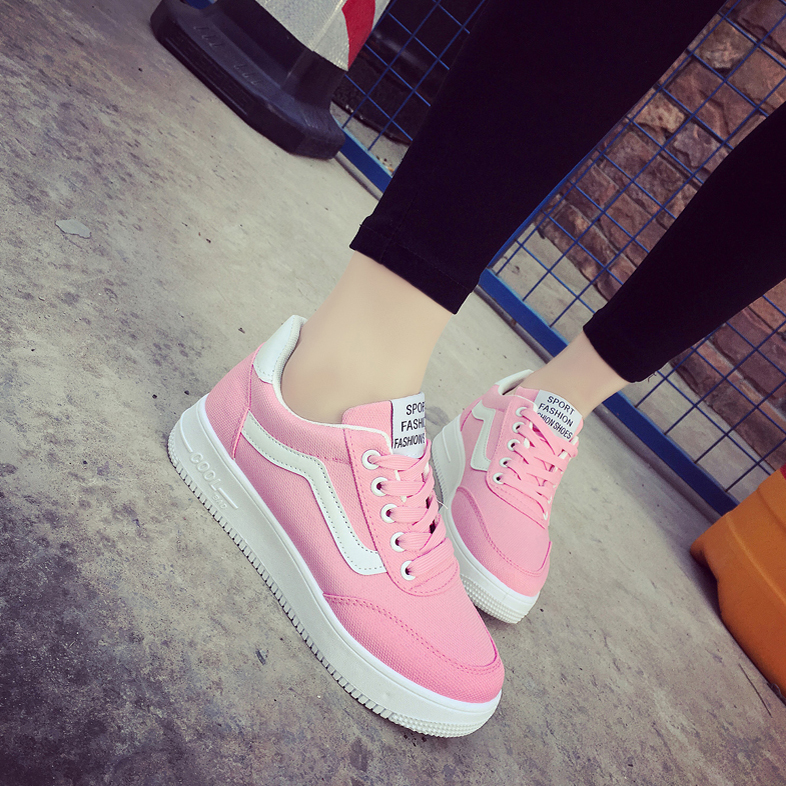 粉红色运动鞋 粉红色纯色甜美运动鞋女休闲鞋学生板鞋厚底松糕透气系带平底单鞋_推荐淘宝好看的粉红色运动鞋