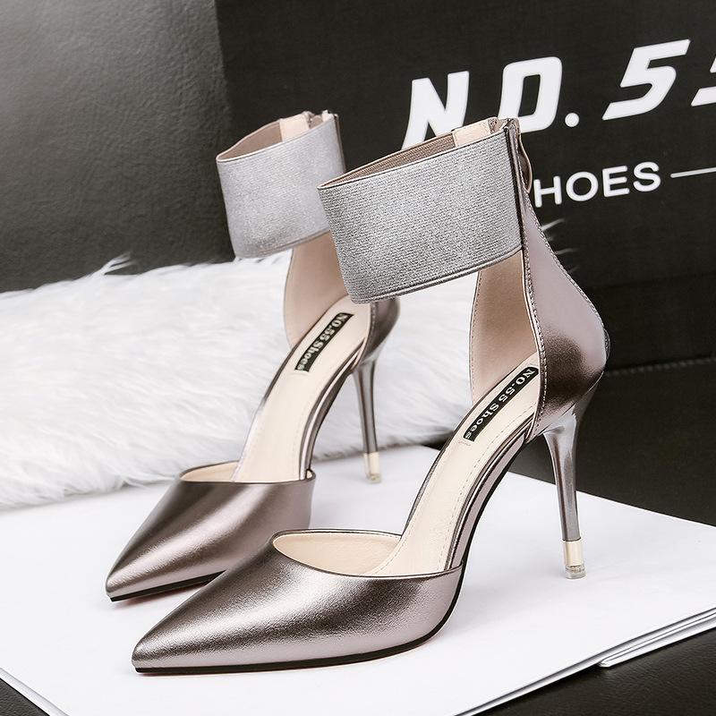 粉红色凉鞋 女鞋NO.55 Shoes细跟银色PU超高跟粉红色黑色包头凉鞋_推荐淘宝好看的粉红色凉鞋