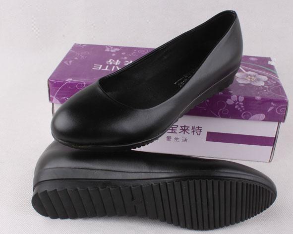 低跟坡跟鞋 包邮加大码平底低跟黑色女工作鞋坡跟软底舒服职业鞋圆头女单鞋_推荐淘宝好看的低跟坡跟鞋