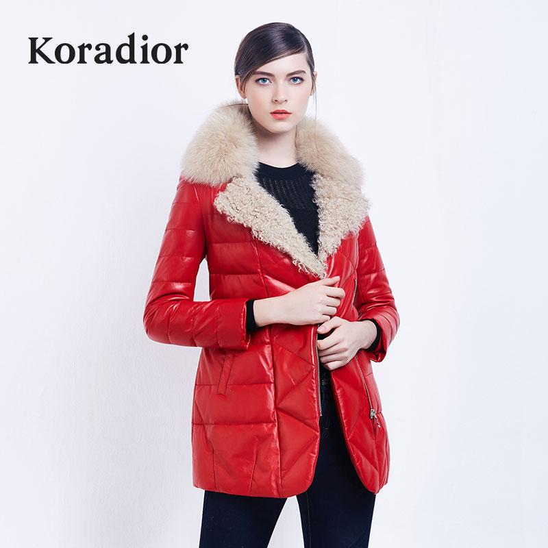 黄色皮衣 Koradior珂莱蒂尔正品2016冬装女装新品加厚绵羊皮革羽绒服外套_推荐淘宝好看的黄色皮衣