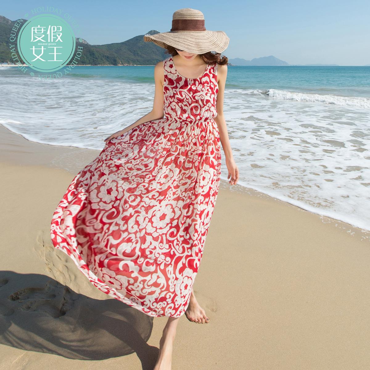雪纺背心 度假女王波西米亚度假沙滩裙雪纺背心连衣裙波西米亚印花度假长裙_推荐淘宝好看的女雪纺背心