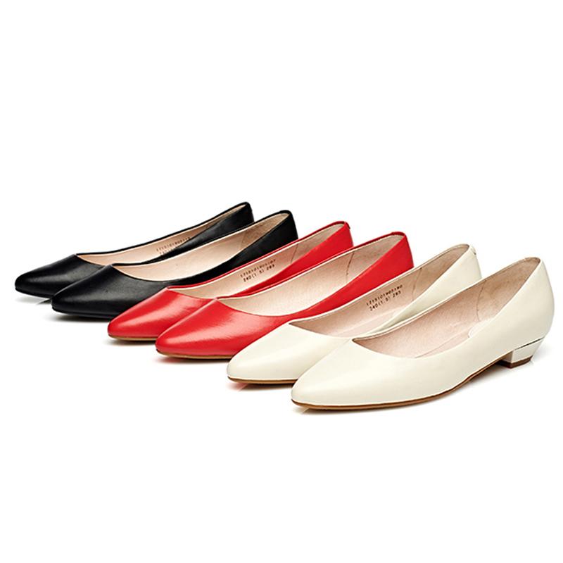 达芙妮尖头鞋 Daphne达芙妮 杜拉拉女鞋 粗低跟尖头真羊皮浅口单鞋1715101905_推荐淘宝好看的达芙妮尖头鞋