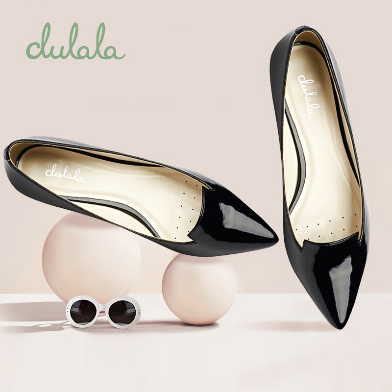 单鞋 Daphne达芙妮女鞋 浅口舒适低跟尖头漆皮亮面简约单鞋_推荐淘宝好看的女单鞋