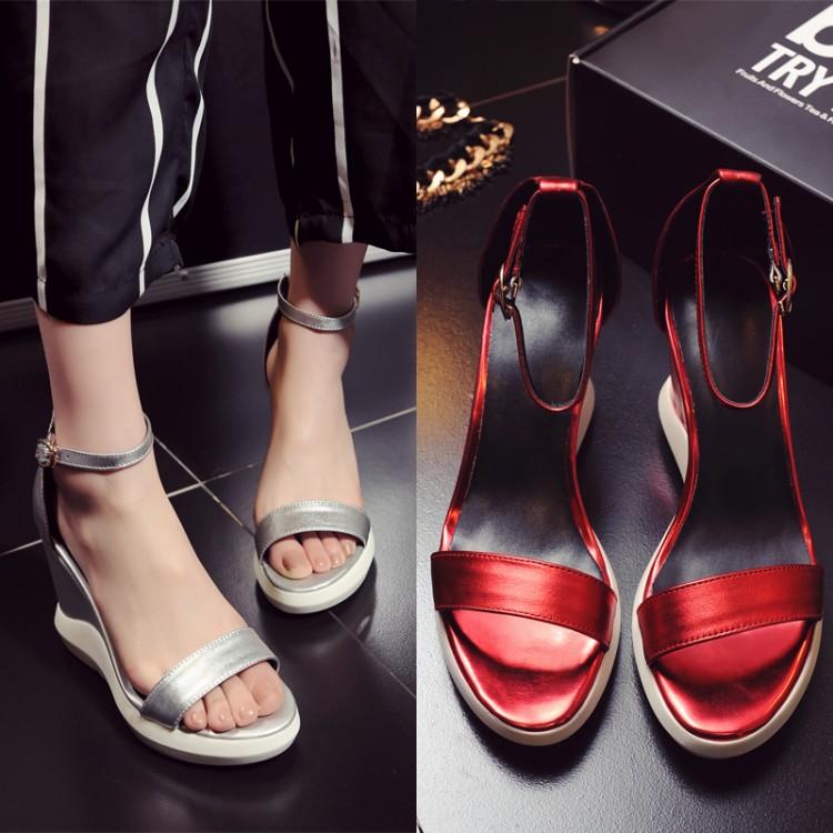 红色罗马鞋 2016春新款真皮超高坡跟扣带露趾拼色罗马鞋凉鞋女34码红色银色OL_推荐淘宝好看的红色罗马鞋
