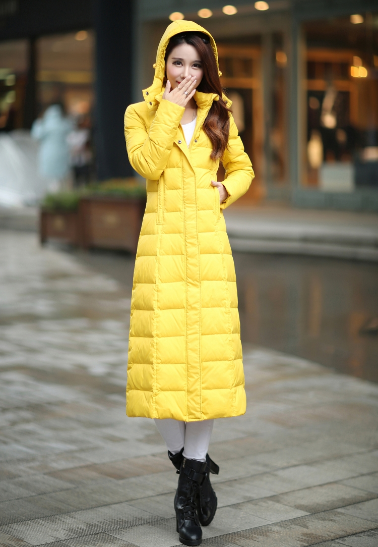 黄色羽绒服 天天特价新品加长款羽绒服女长过膝修身显瘦加厚超长特厚特长大衣_推荐淘宝好看的黄色羽绒服