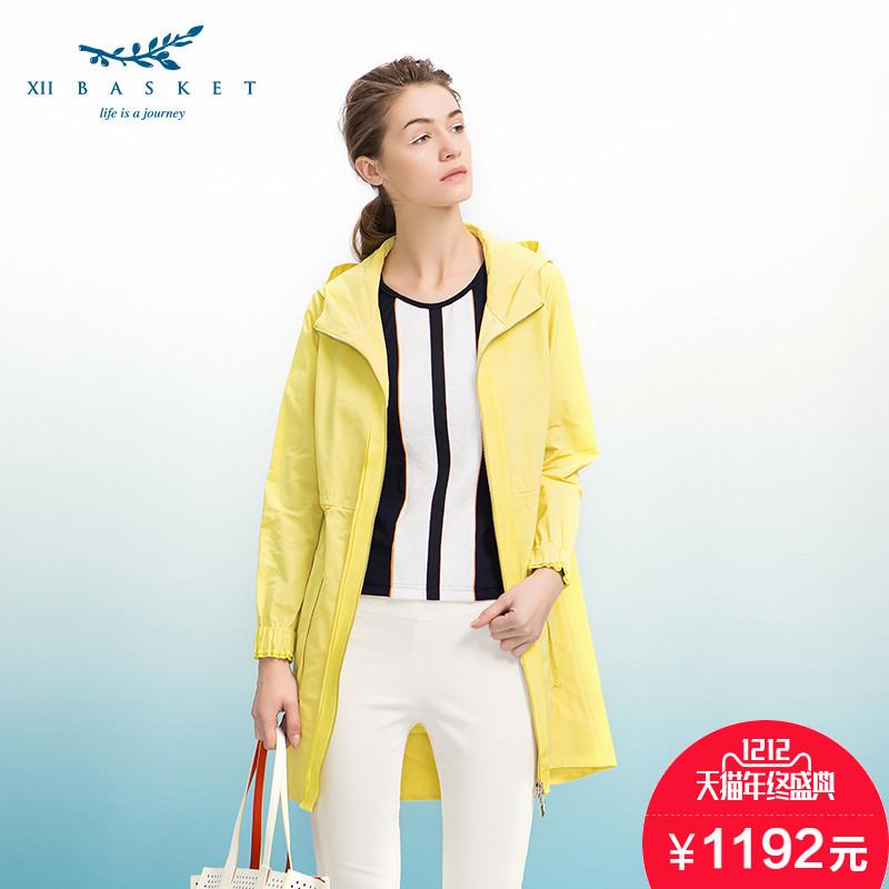 黄色风衣 XII BASKET十二篮清奢时尚明亮黄色长袖连帽中长质感风衣75107060_推荐淘宝好看的黄色风衣