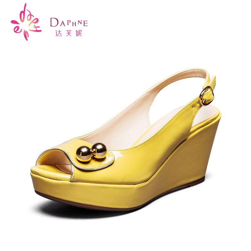 女士坡跟凉鞋 达芙妮专柜女鞋 夏季女鞋简约高跟 坡跟鱼嘴凉鞋1014303183_推荐淘宝好看的女 坡跟凉鞋