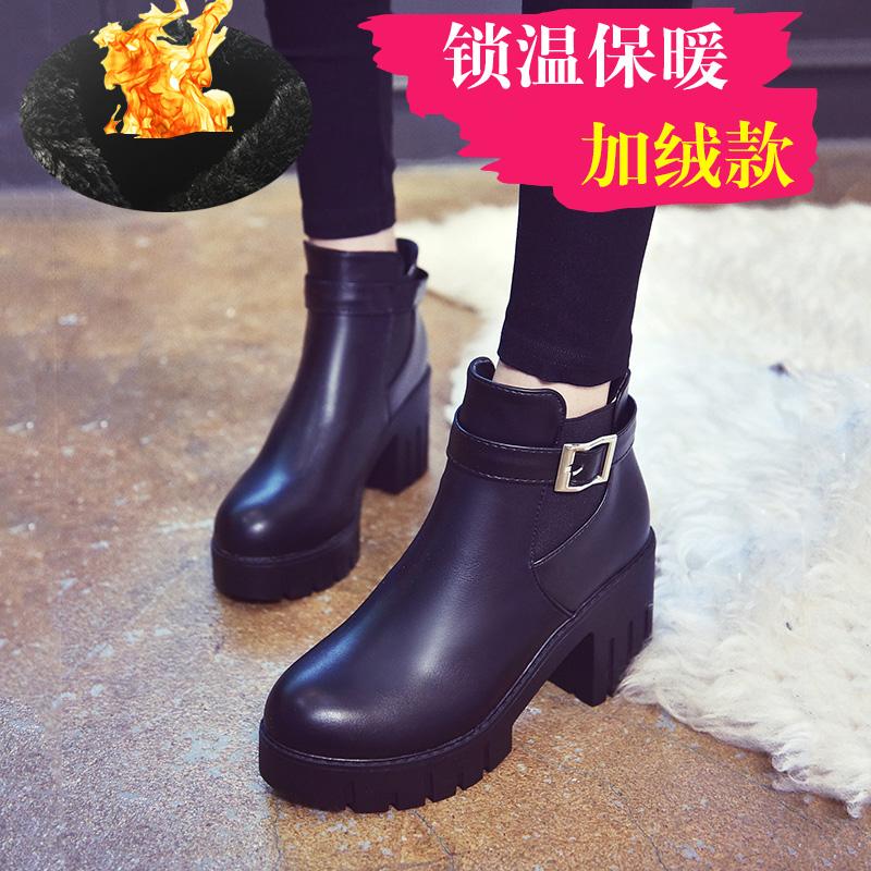 高跟厚底鞋 秋冬季学生短靴高跟马丁靴女英伦风加绒厚底粗跟女鞋短筒女靴子潮_推荐淘宝好看的女高跟厚底鞋