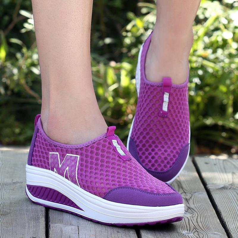 紫色运动鞋 摇摇鞋女三层网布运动健身休闲鞋2017松糕跟气垫女鞋紫色_推荐淘宝好看的紫色运动鞋