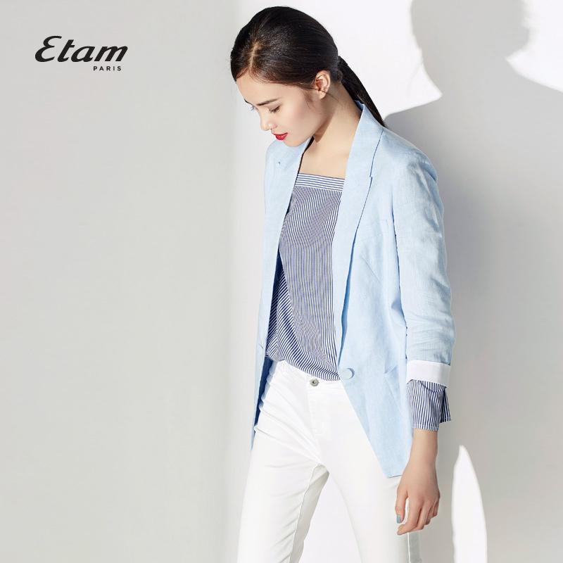 艾格服饰 艾格 Etam  时尚百搭经典浅蓝色亚麻西装外套女16012124247_推荐淘宝好看的艾格女