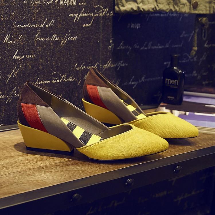 紫色坡跟鞋 2017春季新款拼色时尚单鞋女中跟粗跟坡跟浅口磨砂真皮黄色紫色鞋_推荐淘宝好看的紫色坡跟鞋