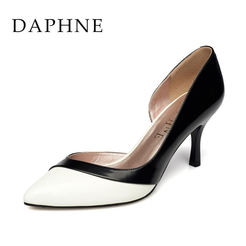 高跟单鞋 Daphne达芙妮春夏新款女鞋 时尚拼色浅口尖头高跟单鞋1015101060_推荐淘宝好看的女高跟单鞋