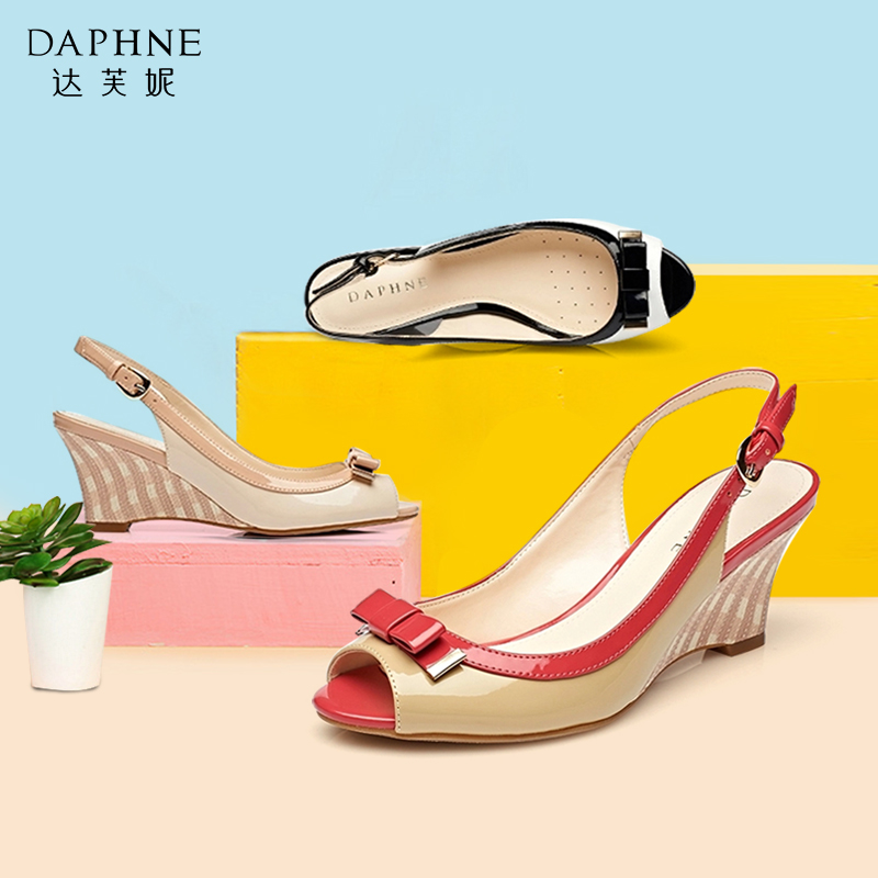 达芙妮鱼嘴鞋 Daphne达芙妮女鞋清仓夏季坡跟鞋蝴蝶结漆皮鱼嘴女凉鞋高跟鞋_推荐淘宝好看的女达芙妮鱼嘴鞋