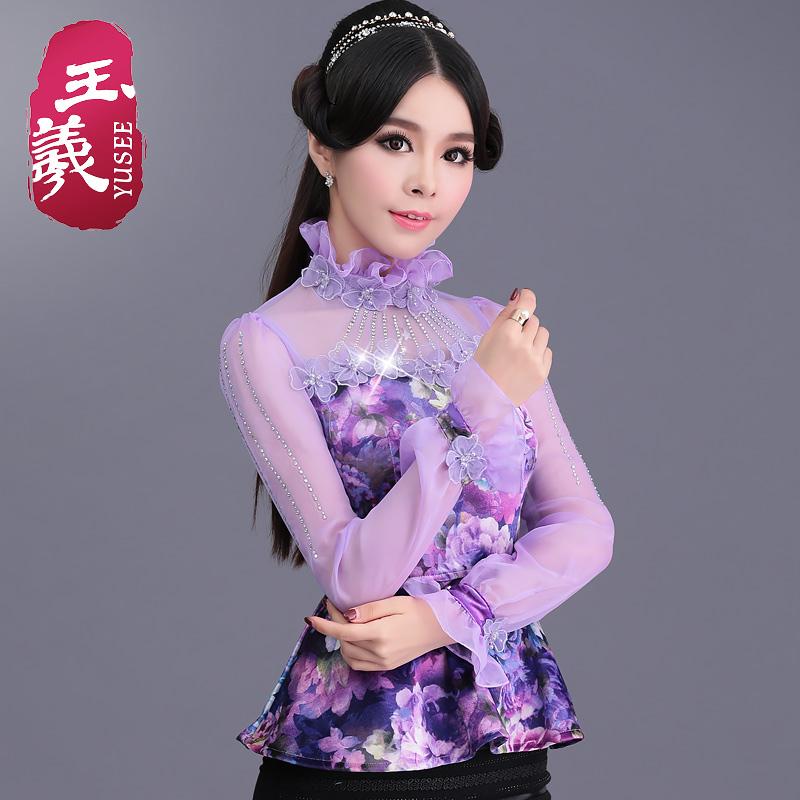 紫色雪纺衫 玉羲紫色印花雪纺衫女长袖2016秋装新款网纱拼接上衣立领修身小衫_推荐淘宝好看的紫色雪纺衫