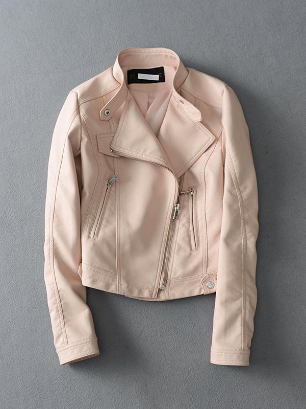 白色皮衣 BZW312 欧美款 立领斜拉链机车皮衣短款外套女 吊牌价1799元_推荐淘宝好看的白色皮衣