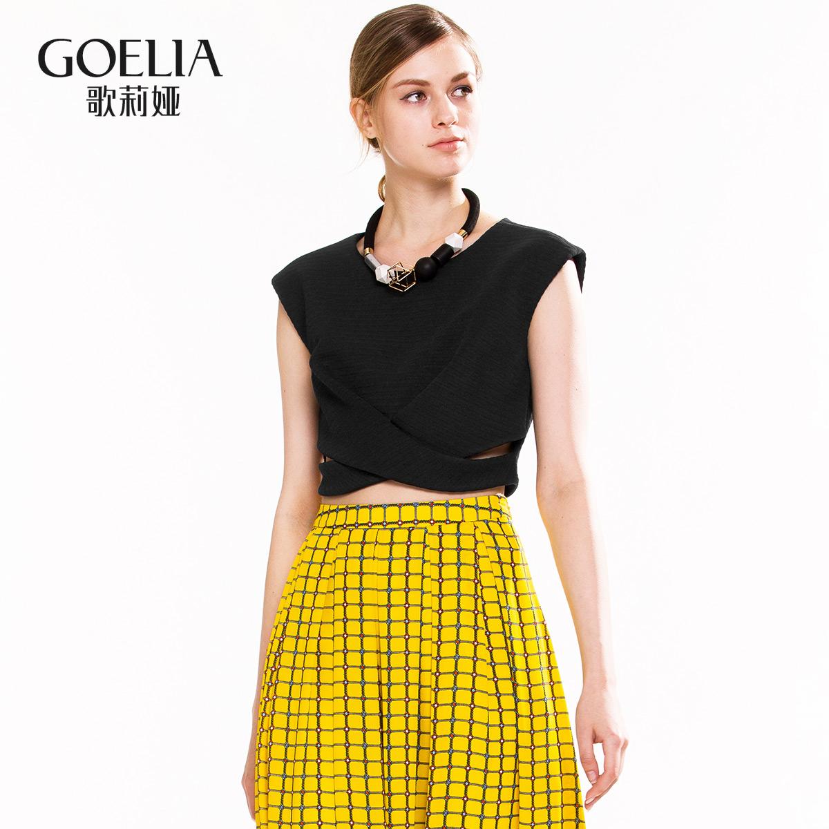 歌莉娅女装 GLORIA歌莉娅女装  无袖镂空修身背心短装上衣163E0A020_推荐淘宝好看的歌莉娅