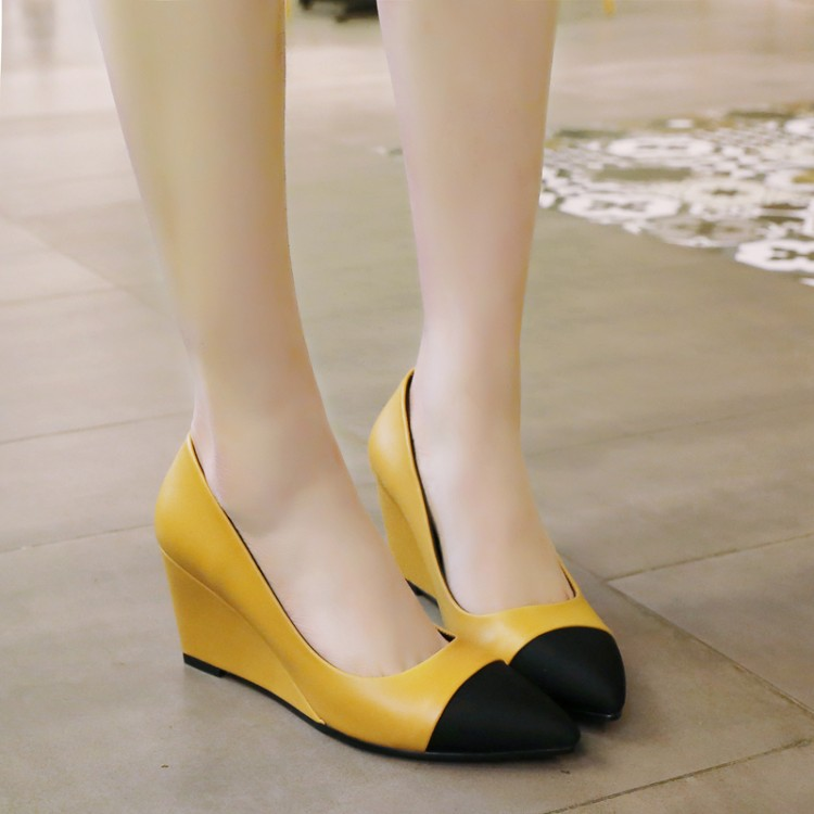 黄色坡跟鞋 女鞋拼色春秋黄色鞋高跟坡跟单鞋大码鞋小码 32 33 40 41 42 TSM_推荐淘宝好看的黄色坡跟鞋