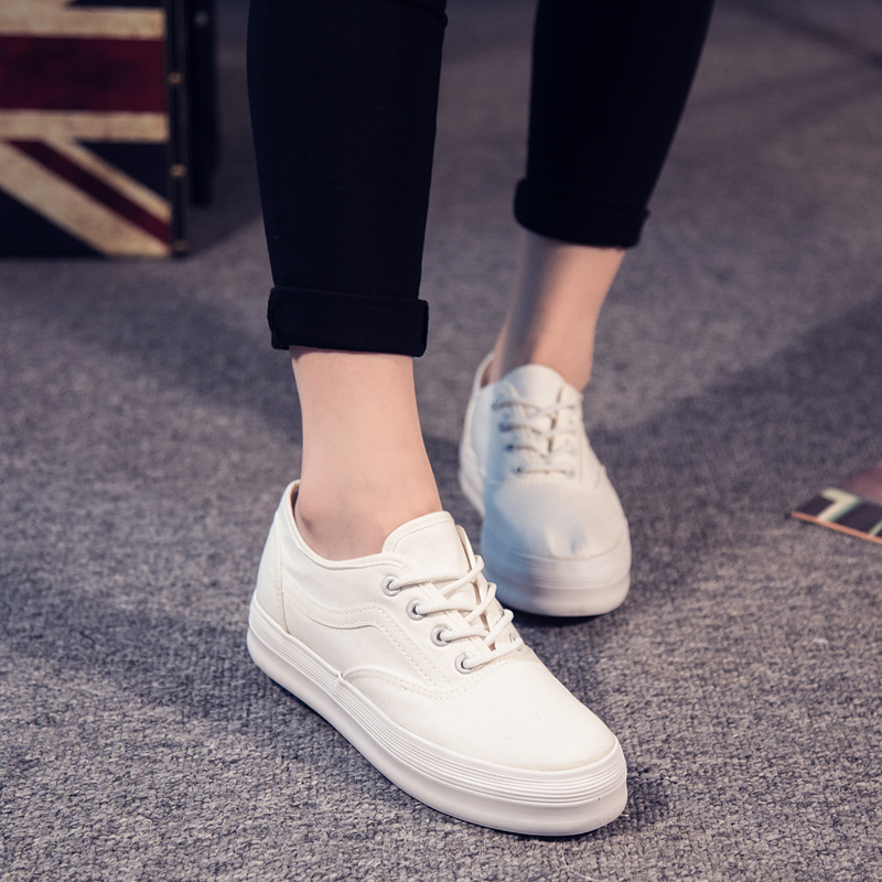 白色厚底鞋 【特价特卖】厚底白色帆布鞋女韩版潮低帮休闲鞋系带板鞋学生布鞋_推荐淘宝好看的白色厚底鞋