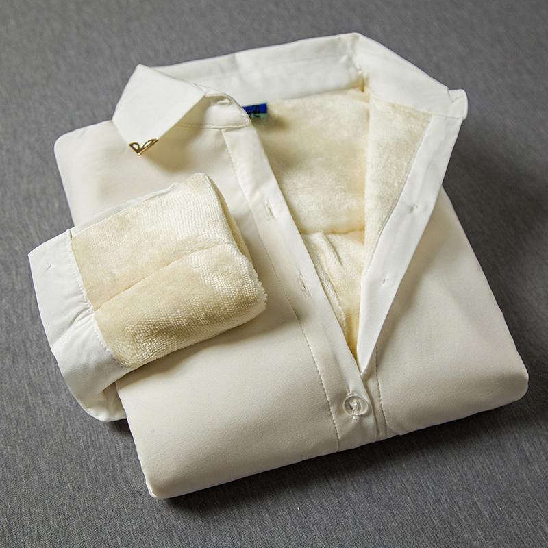 女式长袖衬衫 加绒衬衣女长袖秋冬职业白衬衫女长袖大码正装工作服加厚保暖衬衣_推荐淘宝好看的女长袖衬衫