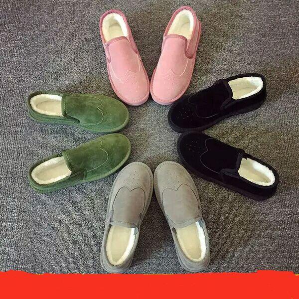 绿色平底鞋 韩版绿色雪地靴平底鞋短靴豆豆鞋冬季加绒女棉鞋毛毛鞋保暖面包鞋_推荐淘宝好看的绿色平底鞋