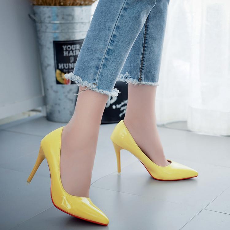黄色单鞋 黄色漆皮高跟鞋性感细跟女鞋春季单鞋2016新款潮韩版欧美爆款尖头_推荐淘宝好看的黄色单鞋