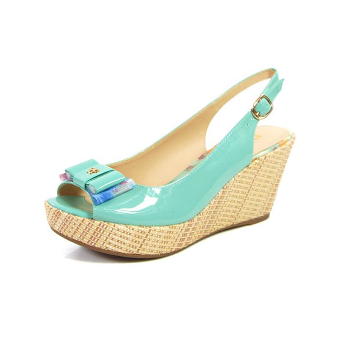 女士坡跟凉鞋 Daphne达芙妮夏季新款休闲坡跟高跟蝴蝶结鱼嘴女士凉鞋_推荐淘宝好看的女 坡跟凉鞋