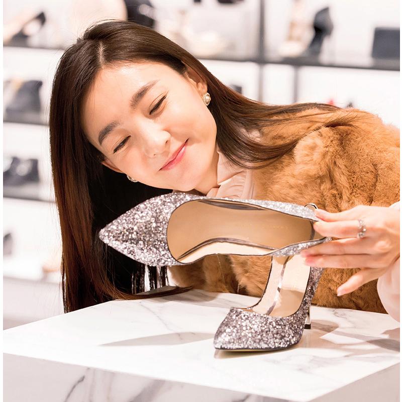 高跟单鞋 银色高跟鞋尖头单鞋金色婚礼服拍婚纱照结婚鞋新娘鞋子女2017新款_推荐淘宝好看的女高跟单鞋