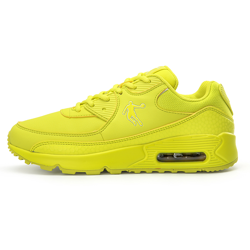 黄色运动鞋 乔丹成人女鞋皮面秋季厚底增高鞋运动鞋气垫跑步鞋休闲鞋黄色纯色_推荐淘宝好看的黄色运动鞋