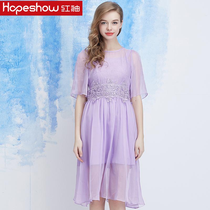红袖雪纺连衣裙 红袖2016春装新款 唯美雪纺蕾丝两件套连衣裙 H8622851松_推荐淘宝好看的红袖雪纺连衣裙