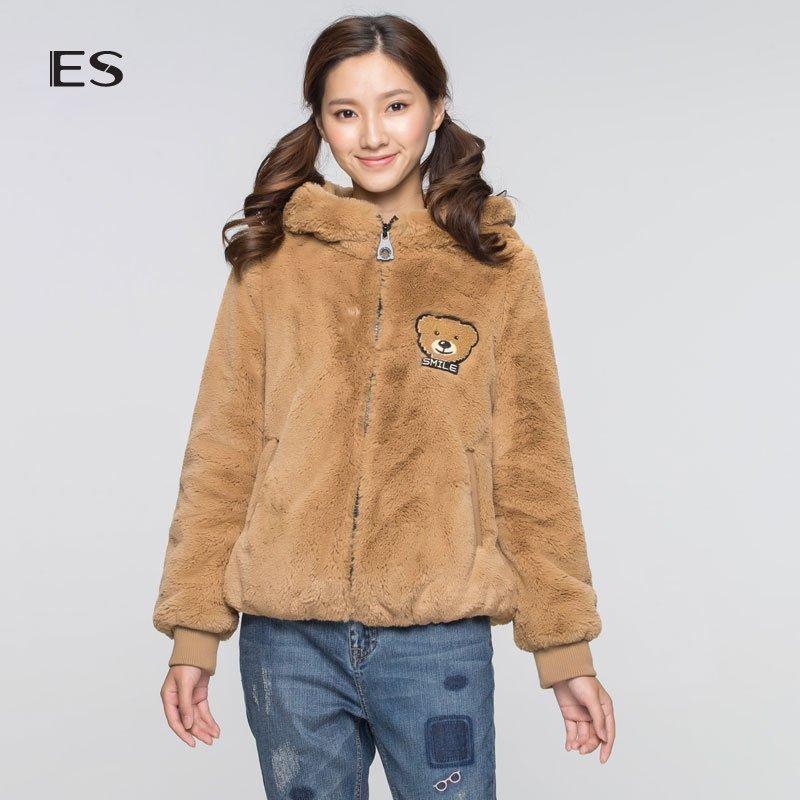 艾格服饰 艾格 ES 女装2017秋装 可爱小熊连帽休闲装外套D213_推荐淘宝好看的艾格女