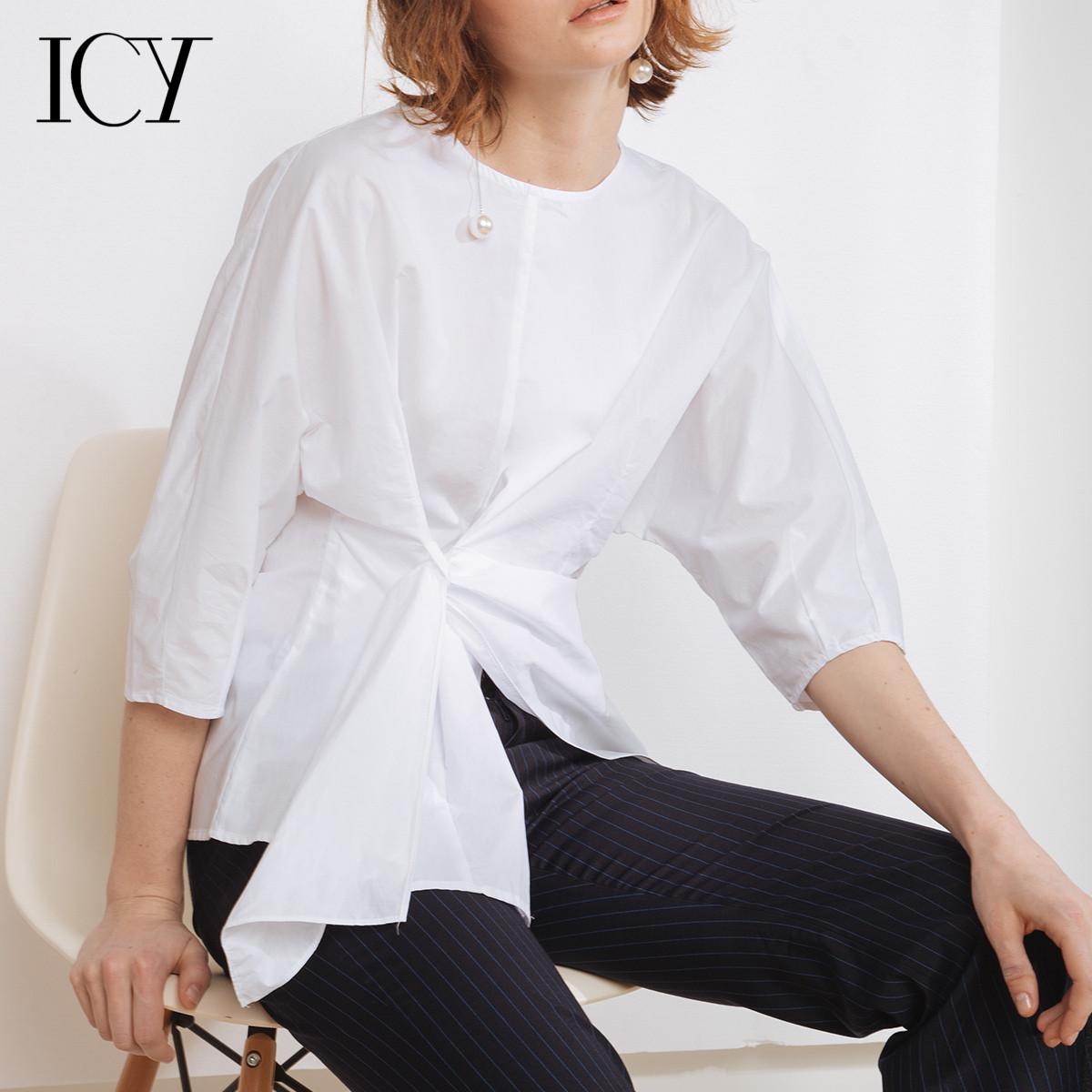 法式衬衫 icy不规则衬衣女夏格子衬衫2017夏季新款 多种穿法休闲圆领上衣_推荐淘宝好看的女法 衬衫