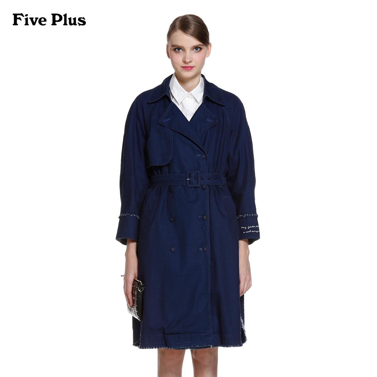 牛仔风衣 Five Plus新女春装纯棉字母印花宽松风衣款牛仔外套2HM1304640_推荐淘宝好看的女牛仔风衣