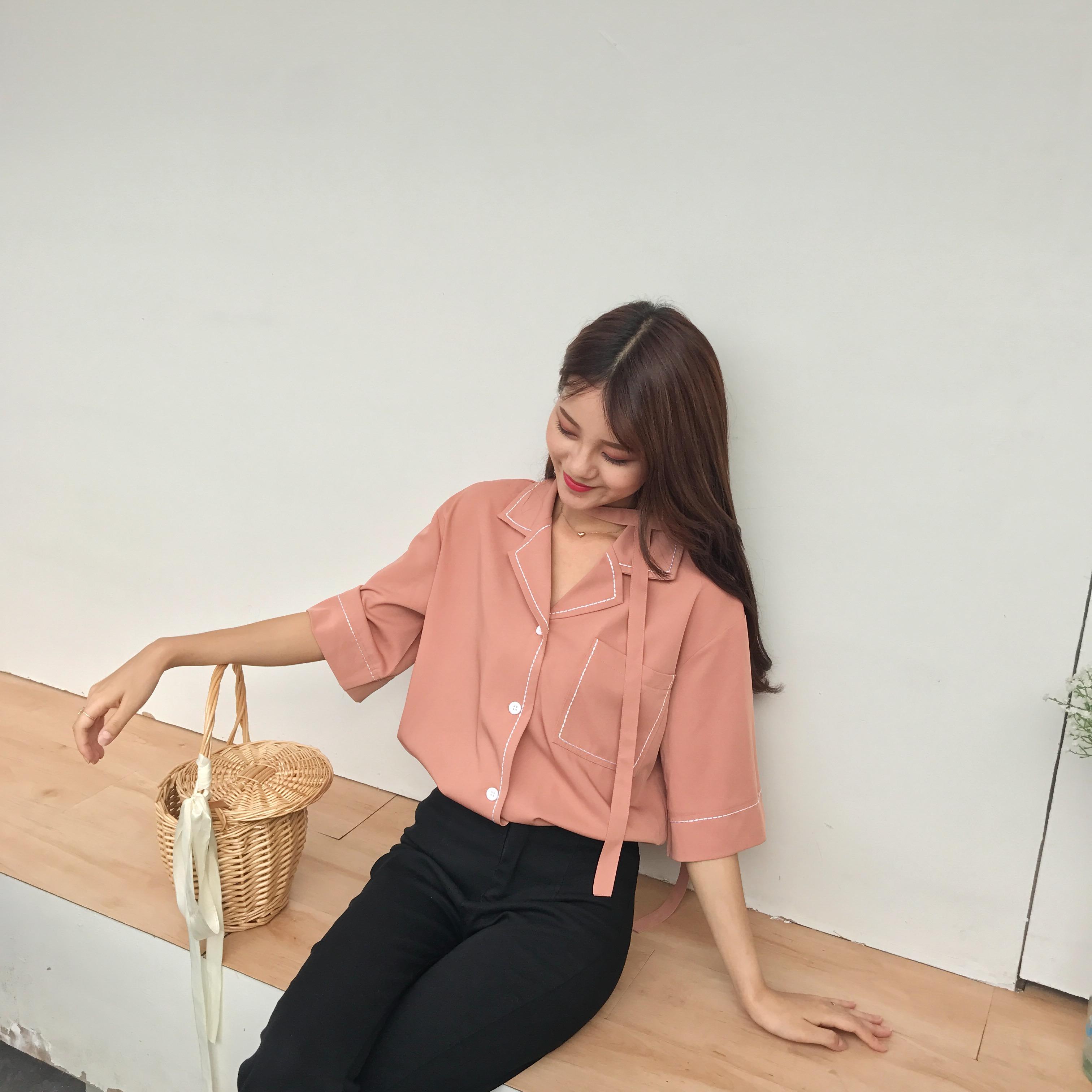 法式衬衫 复古韩国chic风橘粉色上衣明线设计法式睡衣领宽松短袖女衬衫夏季_推荐淘宝好看的女法 衬衫