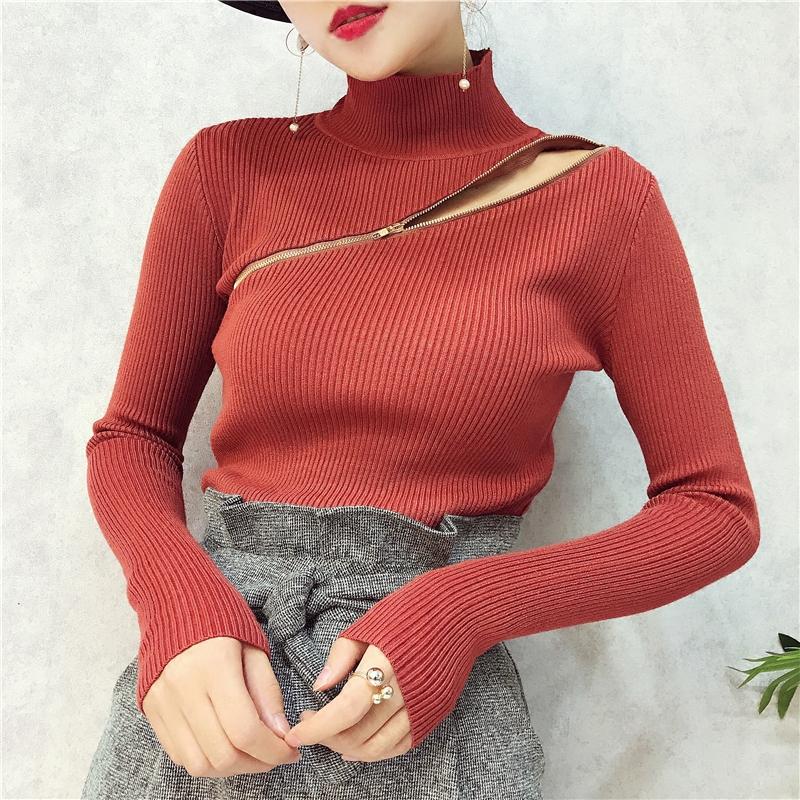 红色针织衫 韩版2017秋冬新款高领长袖斜边拉链针织衫女弹力修身打底毛衣女士_推荐淘宝好看的红色针织衫