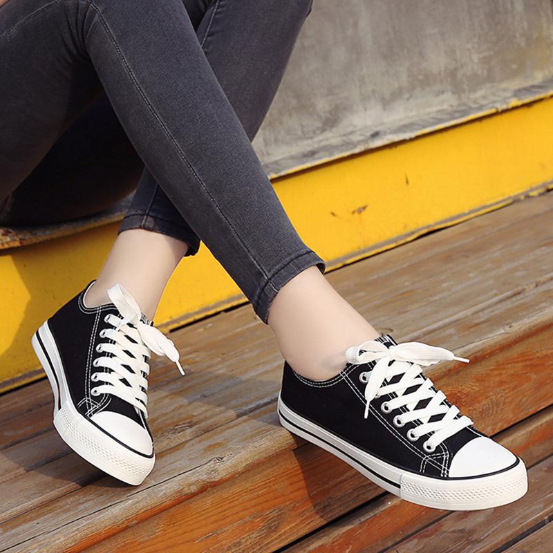 低帮帆布鞋 帆布鞋女小白鞋经典韩版小白鞋低帮平底学生鞋休闲鞋白色休闲单鞋_推荐淘宝好看的女低帮帆布鞋