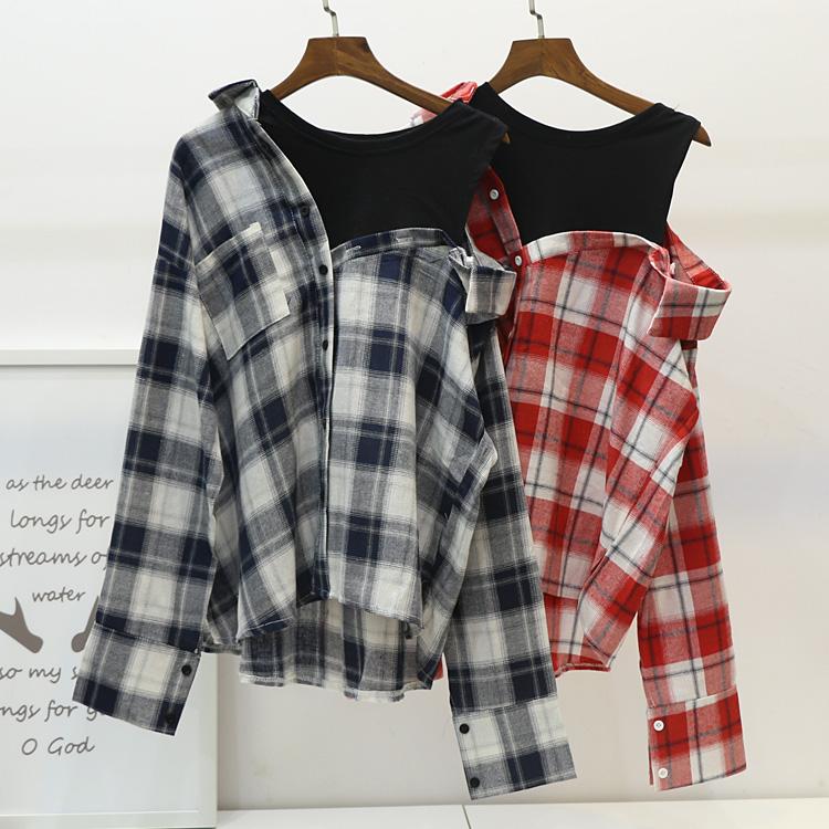 红色格子衬衫 2017春季新款韩国东大门拼接露肩假两件格子宽松蝙蝠袖长袖衬衫女_推荐淘宝好看的女红色格子衬衫
