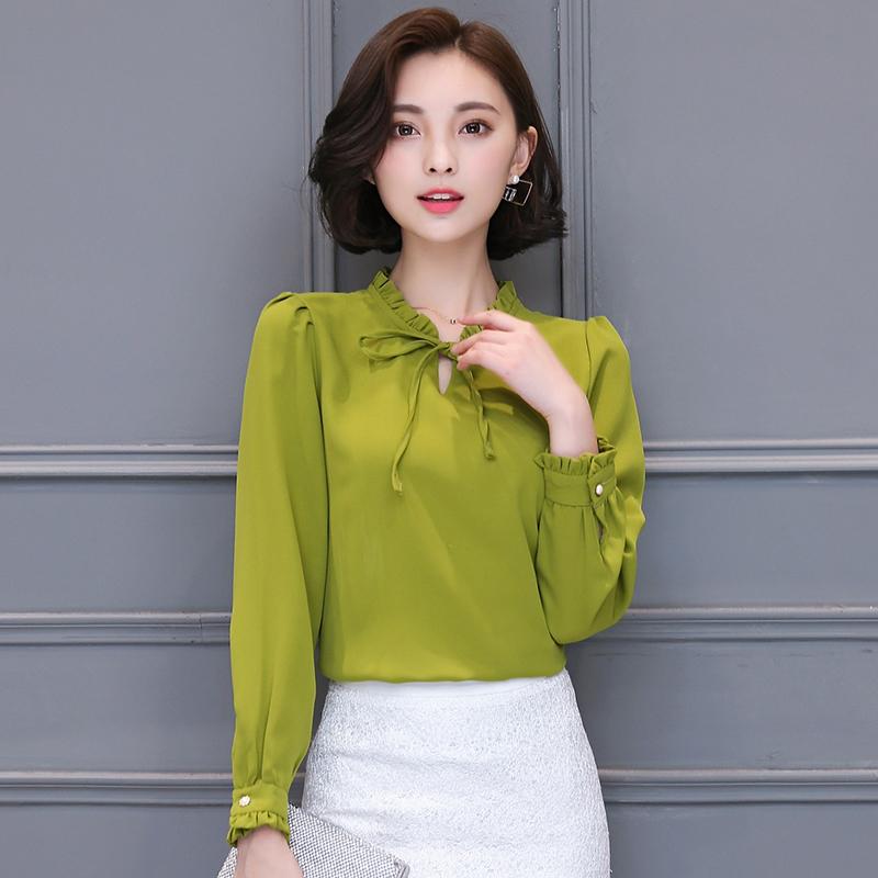 绿色雪纺衫 女士秋装2017新款韩版宽松圆领长袖雪纺衫显瘦秋衣外穿打底衫上衣_推荐淘宝好看的绿色雪纺衫