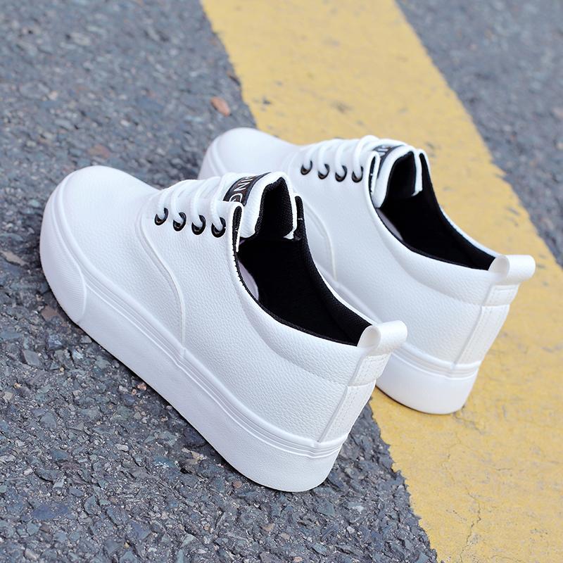 白色厚底鞋 百搭白色小白鞋学生韩版夏季系带厚底帆布鞋内增高松糕鞋布鞋女鞋_推荐淘宝好看的白色厚底鞋